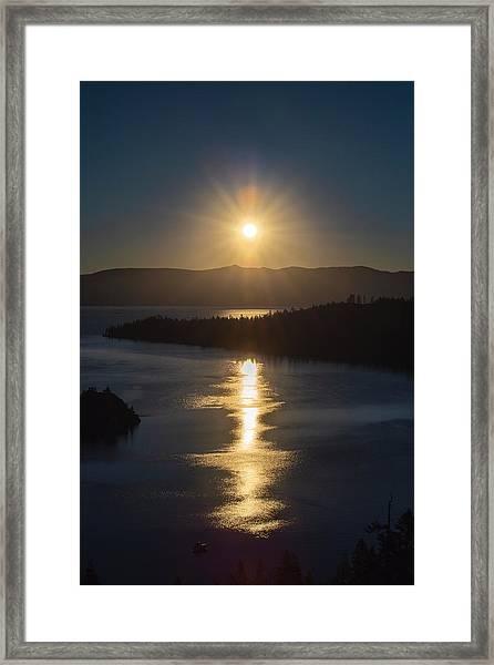 Sun Rising Over Lake Tahoe Framed Print