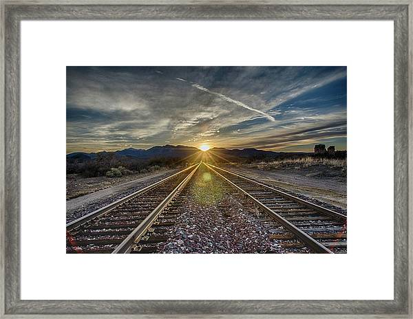 Sun Sets At The End Of The Line Framed Print
