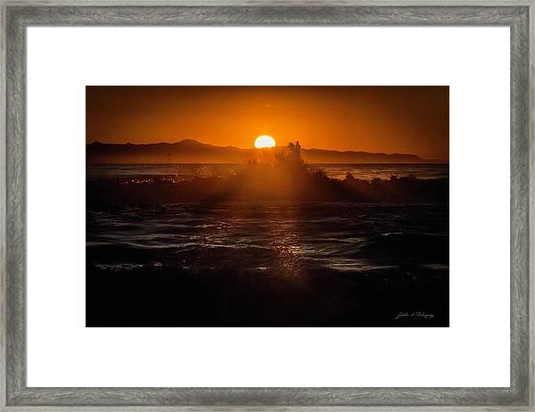 Sun Setting Behind Santa Cruz Island Framed Print