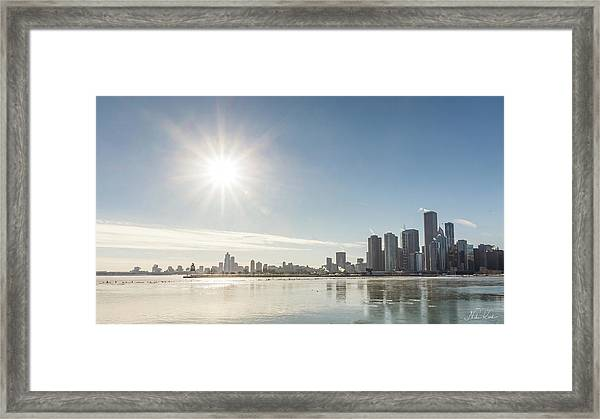 Sun Setting Over Chicago Framed Print