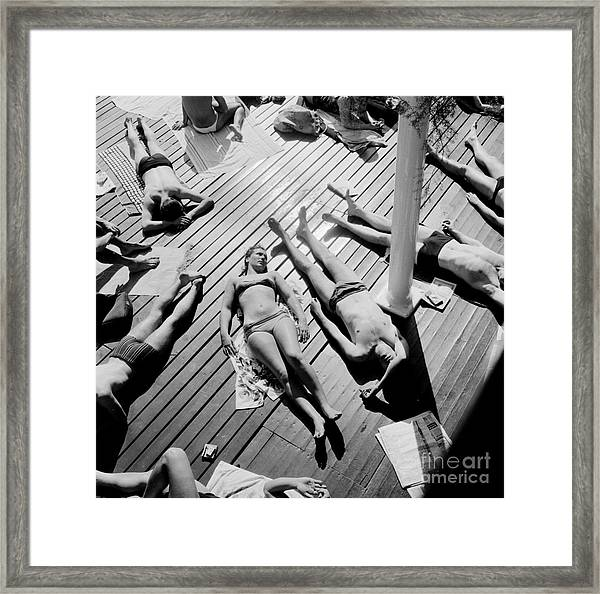 Sun Tanning At The Deligny Swimming Pool, Paris, June, 1963 Framed Print