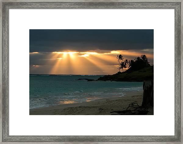 Sunburst At Kailua Framed Print