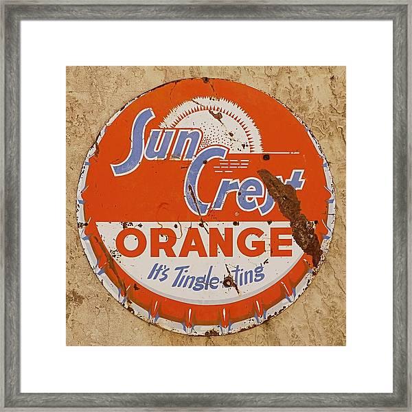 Suncrest Orange Soda Cap Sign Framed Print