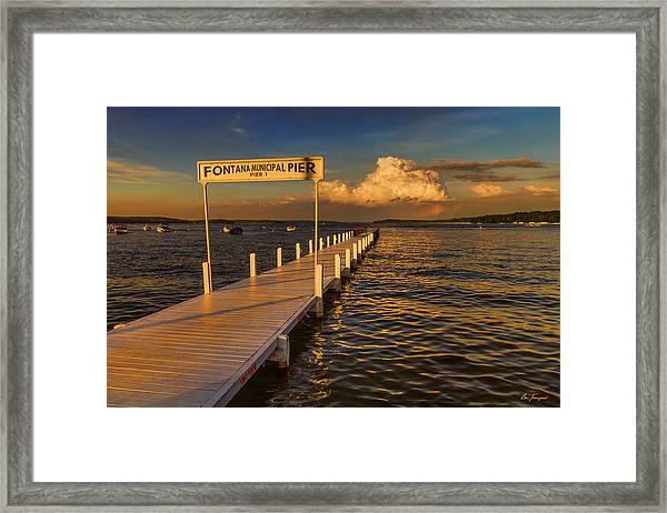 Sundown - Lake Geneva Wisconsin Framed Print
