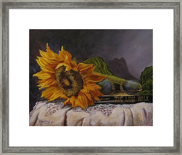 Sunflower And Book Framed Print