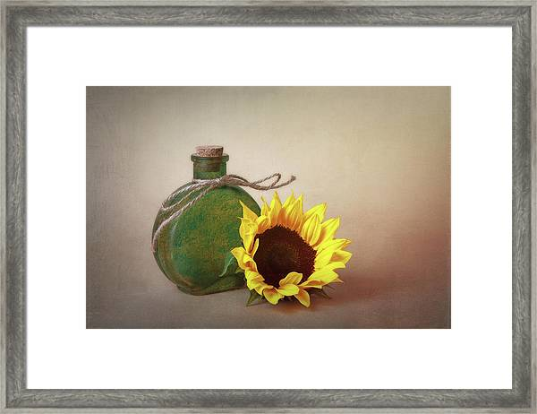 Sunflower And Green Glass Still Life Framed Print