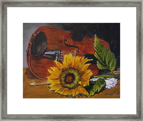 Sunflower And Violin Framed Print