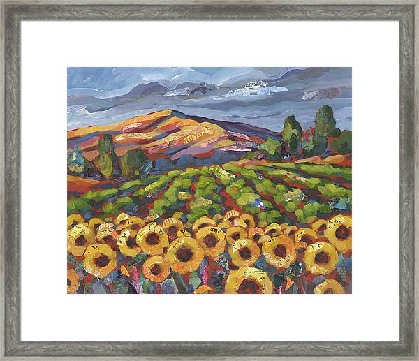 Framed Print featuring the painting Sunflower Ranch by Shelli Walters