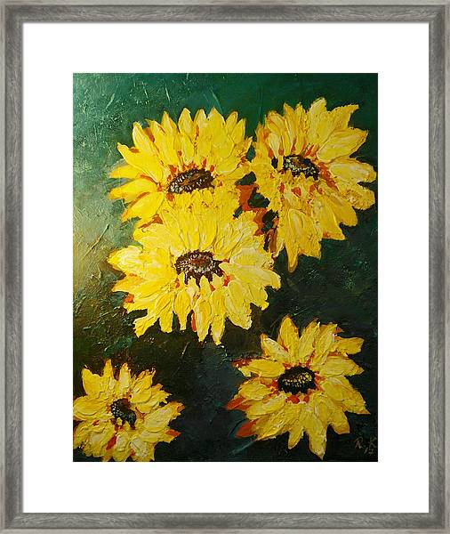 Framed Print featuring the painting Sunflower by Ray Khalife