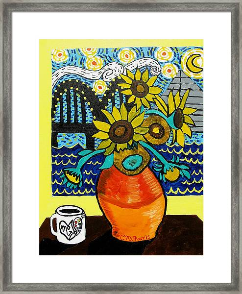 Sunflowers And Starry Memphis Nights Framed Print