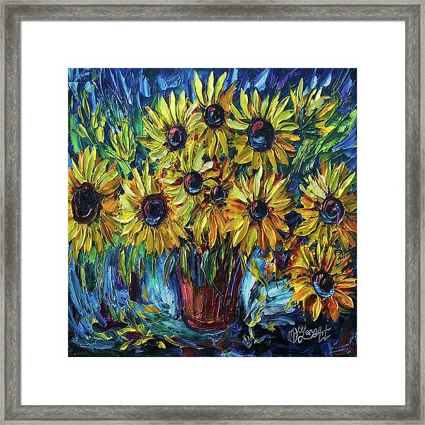 Sunflowers In A Vase Palette Knife Painting Framed Print
