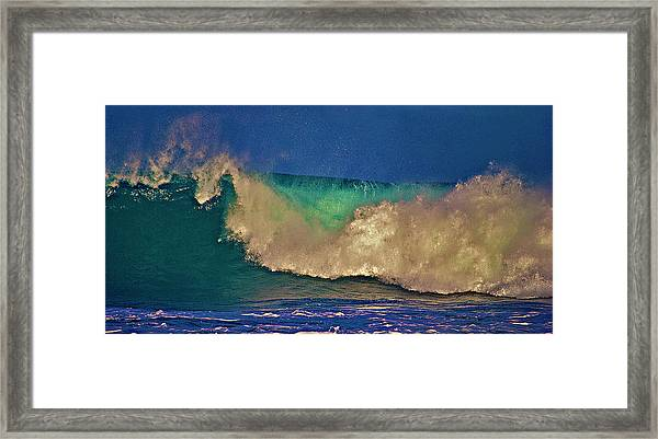 Sunlight On Breaking Wave Framed Print
