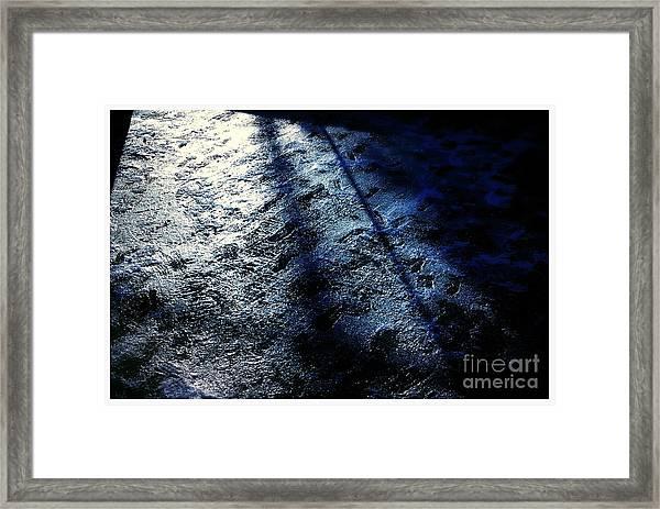 Sunlight Shadows On Ice - Abstract Framed Print