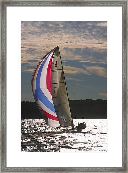Sunlit Sails - Lake Geneva Wisconsin Framed Print