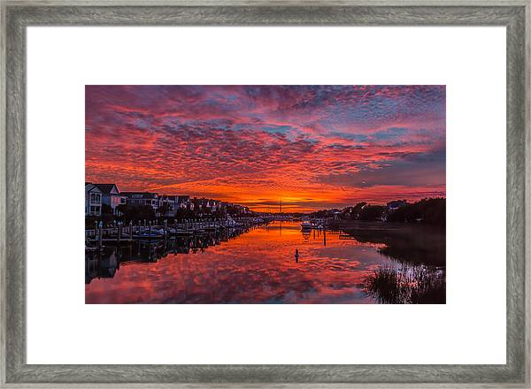 Sunlit Sky Over Morgan Creek -  Wild Dunes On The Isle Of Palms Framed Print