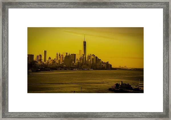 Sunrise Across The Hudson Framed Print