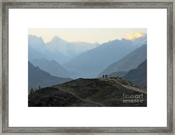Sunrise Among The Karakoram Mountains In Hunza Valley Pakistan Framed Print