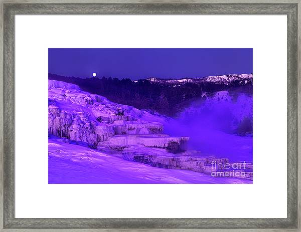 Sunrise And Moonset Over Minerva Springs Yellowstone National Park Framed Print