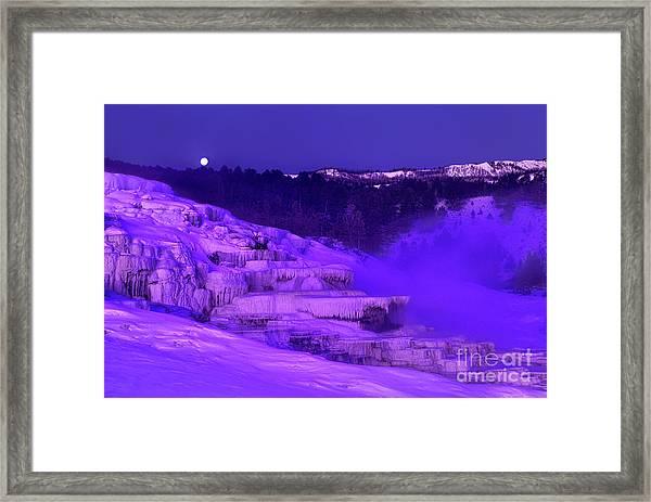 Sunrise And Moonset Over Minerva Springs Yellowstone National Park Framed Print