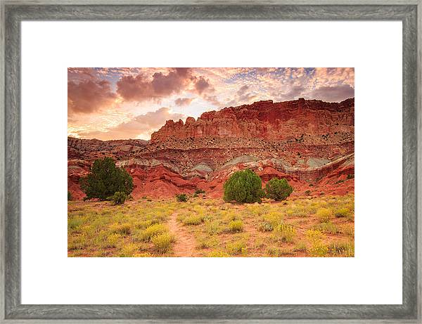 Sunrise At Capitol Reef. Framed Print