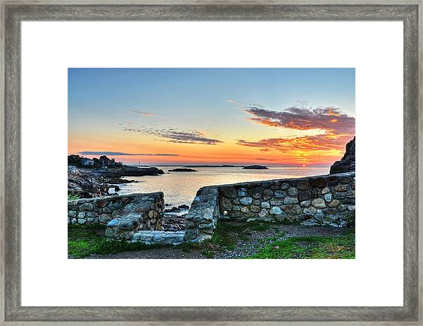 Sunrise At Castle Rock Marblehead Ma Framed Print