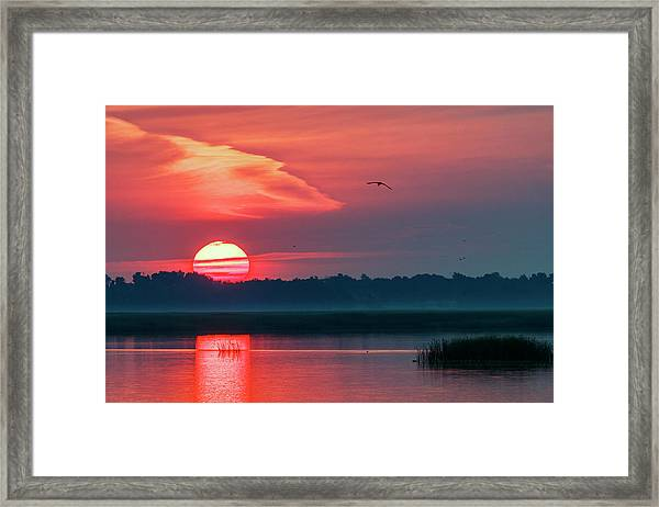 Framed Print featuring the photograph Sunrise At Cheyenne Bottoms 03 by Rob Graham
