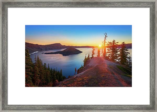 Sunrise At Crater Lake Framed Print