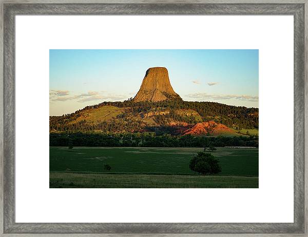 Framed Print featuring the photograph Sunrise At Devils Tower by Bill Gabbert