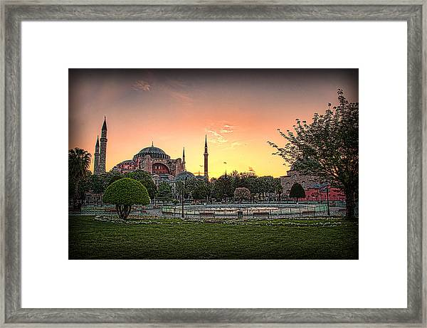 Framed Print featuring the photograph Sunrise At Hagia Sophia by Kevin McClish