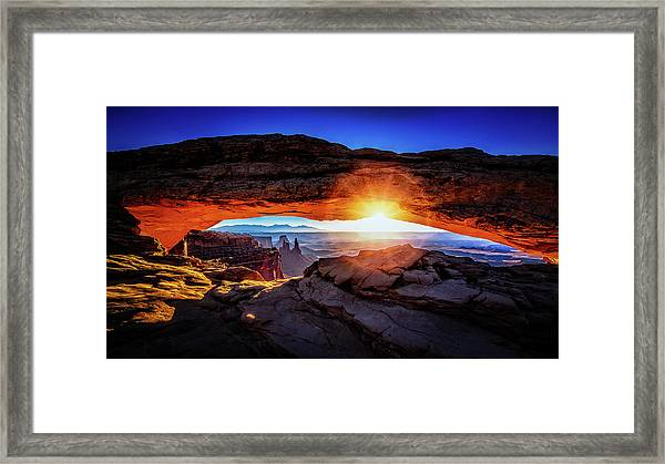 Framed Print featuring the digital art Sunrise At Mesa Arch by Kevin McClish