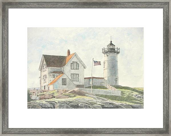 Framed Print featuring the painting Sunrise At Nubble Light by Dominic White