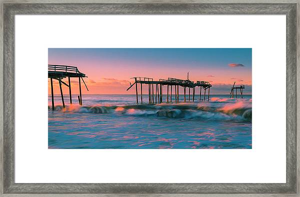 Framed Print featuring the photograph Sunrise At Outer Banks Fishing Pier In North Carolina Panorama by Ranjay Mitra