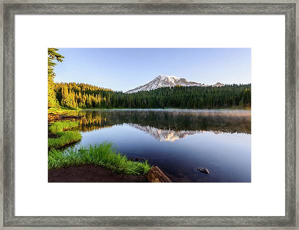 Mount Rainier Viewed From Reflection Lake Framed Print