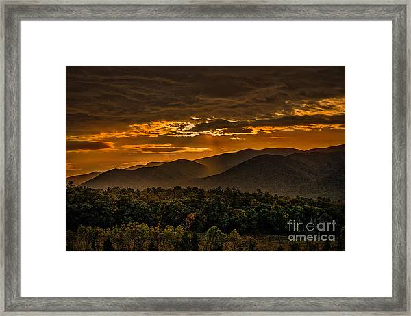 Sunrise In Cades Cove Great Smoky Mountains Tennessee Framed Print