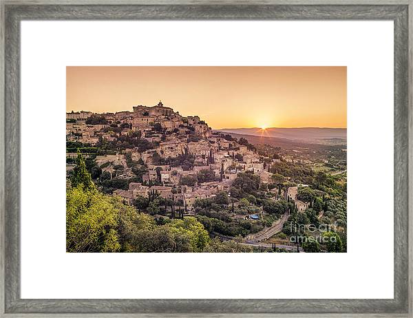 Framed Print featuring the photograph Sunrise In Gordes Provence  by Juergen Held