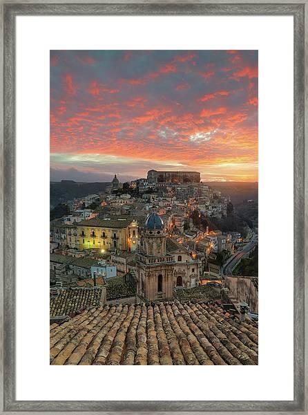 Sunrise In Ragusa Ibla Framed Print