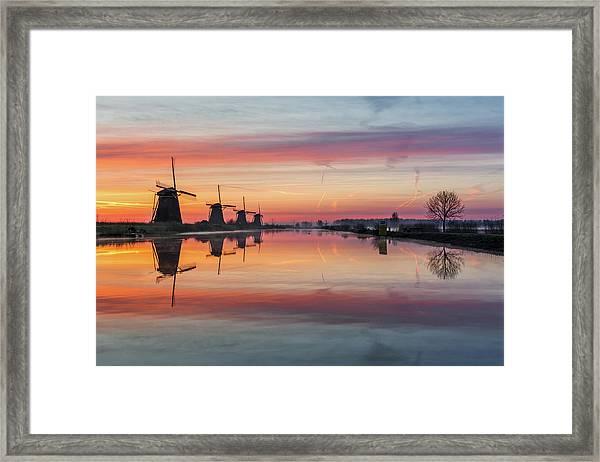 Sunrise Kinderdijk Framed Print