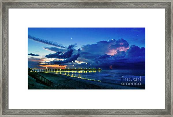 Framed Print featuring the photograph Sunrise Lightning by DJA Images