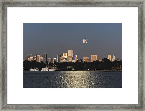 Moonrise Over Miami Framed Print