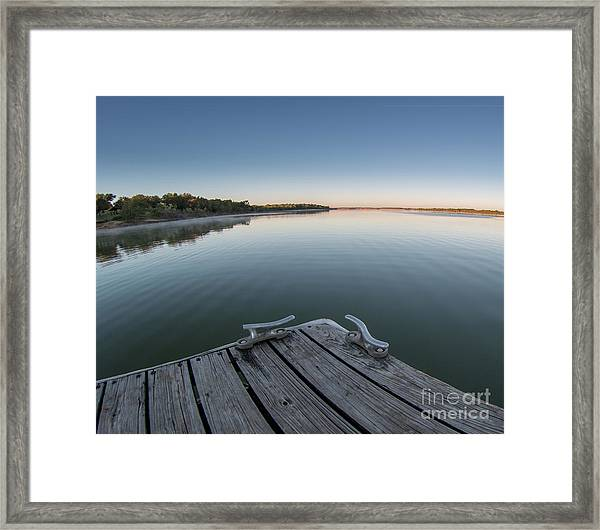 Sunrise On A Clear Morning Over Large Lake With Fog On Top, From Framed Print