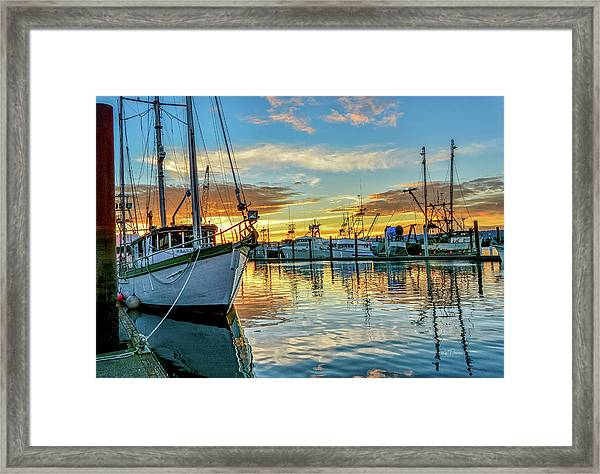 Sunrise On Bay Framed Print