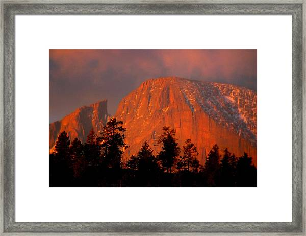 Sunrise On Long's Peak Framed Print