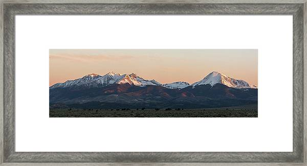 Sunrise On The Blanca Group Framed Print by Aaron Spong