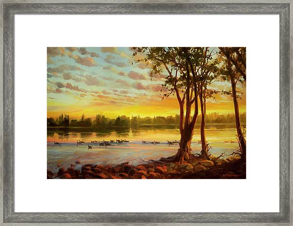Sunrise On The Columbia Framed Print