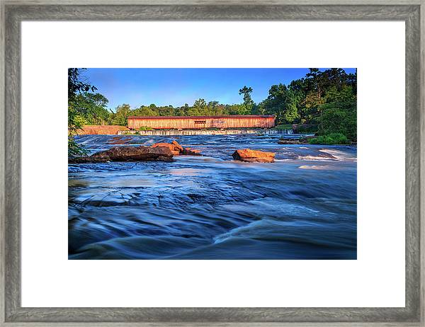 Sunrise On Watson Mill Bridge Framed Print