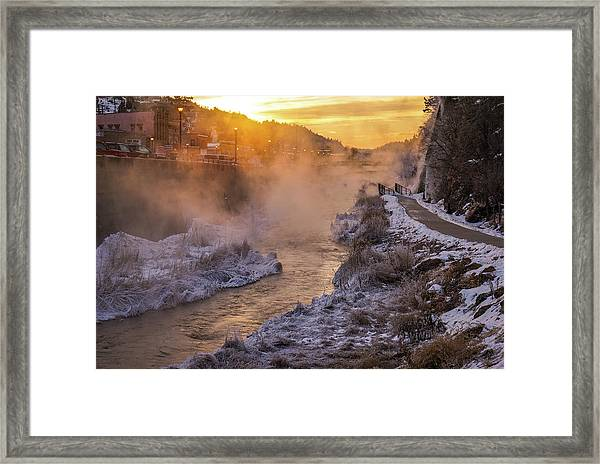 Framed Print featuring the photograph Sunrise Over The Fall River by Bill Gabbert