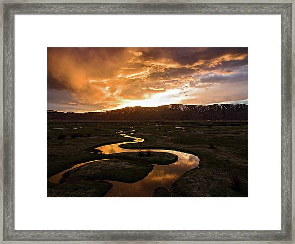 Sunrise Over Winding River Framed Print