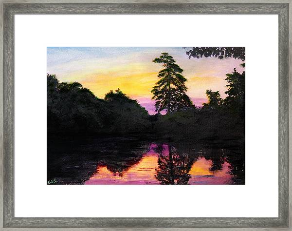 Framed Print featuring the painting Sunrise Pond Maryland Landscape Original Fine Art Painting by G Linsenmayer