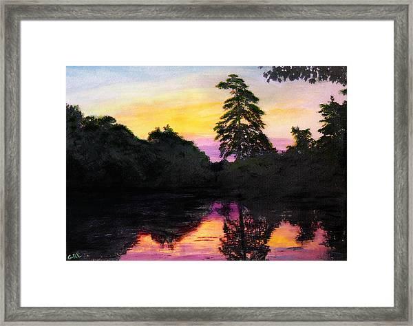 Sunrise Pond Maryland Landscape Original Fine Art Painting Framed Print