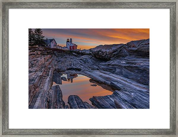 Sunrise Reflections At Pemaquid Point Framed Print